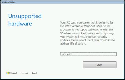 Hardware non supportato